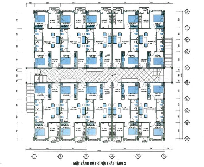 Block 5 can tg2 Mặt bằng bố trí nội thất tầng 2