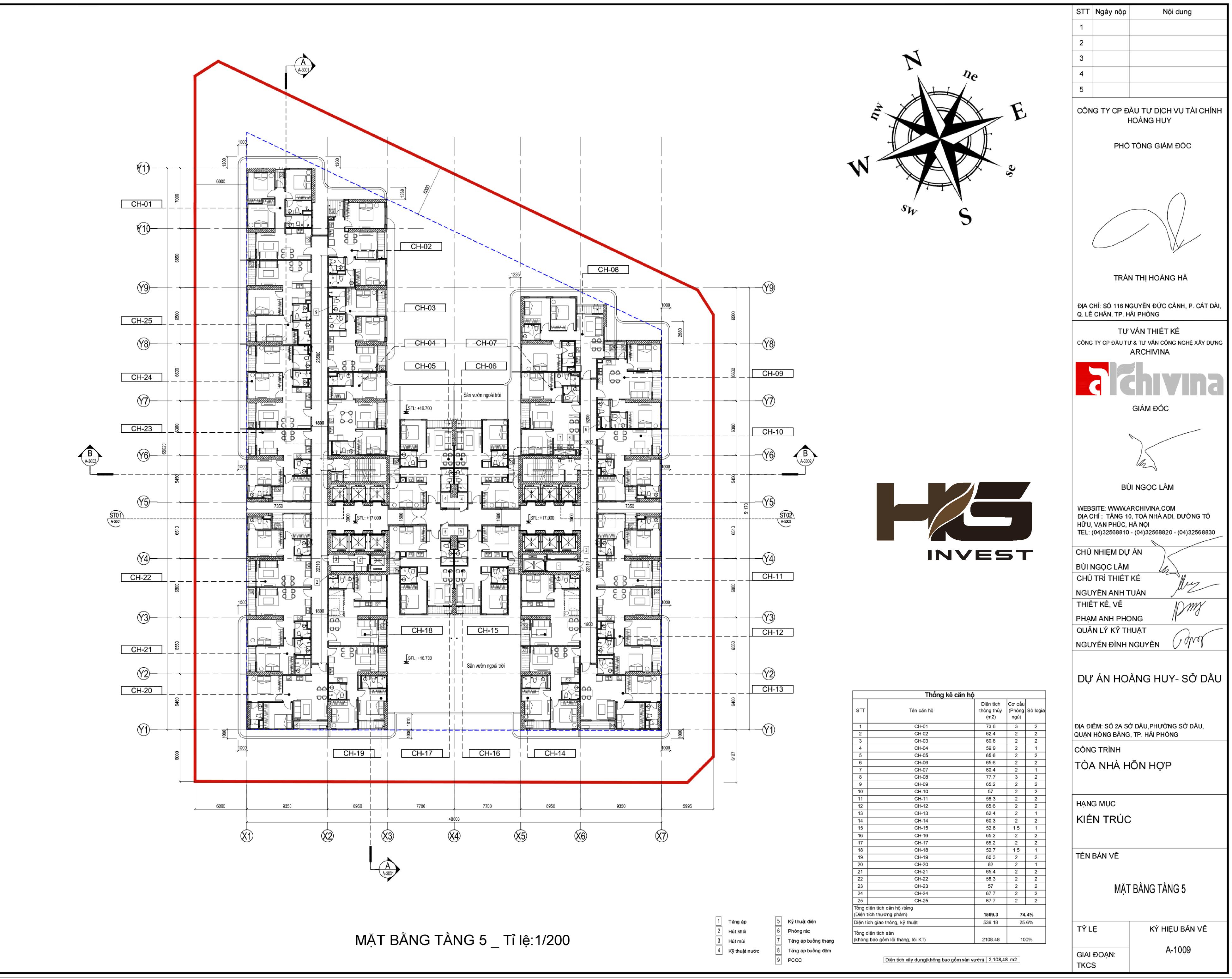 Mặt bằng tầng 5 của chung cư Hoàng Huy Sở Dầu