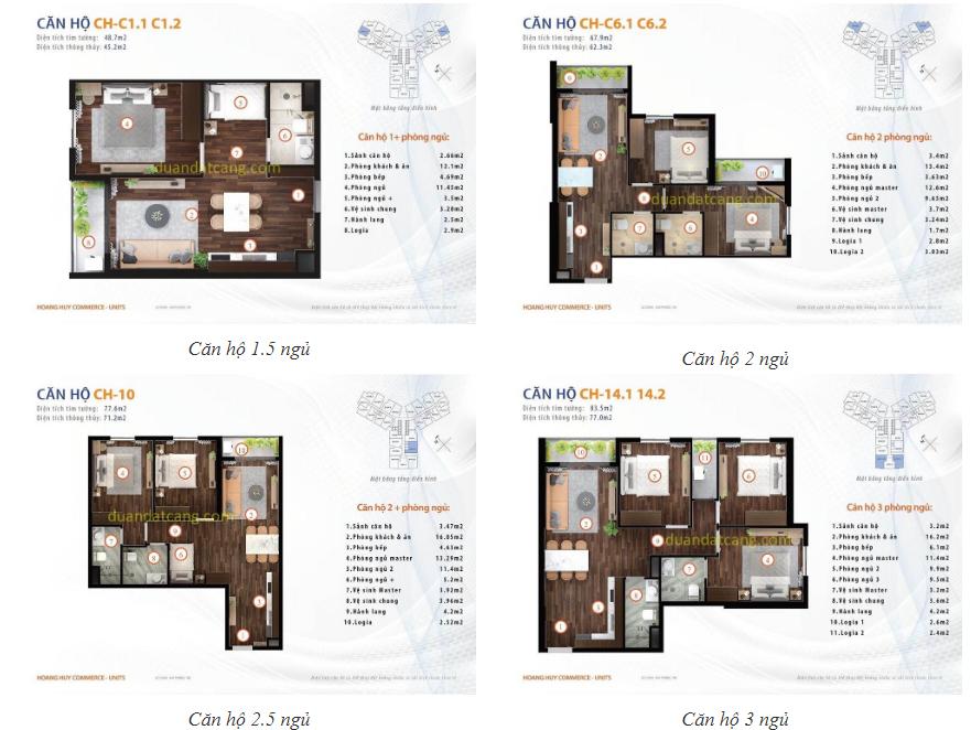 Thiết kế mẫu các căn hộ dự án CHung cư Hoàng Huy Commerce